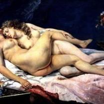 XIR6813 Le Sommeil, 1866 (oil on canvas) by Courbet, Gustave (1819-77) oil on canvas 135x200 Musee de la Ville de Paris, Musee du Petit-Palais, France Giraudon French, out of copyright